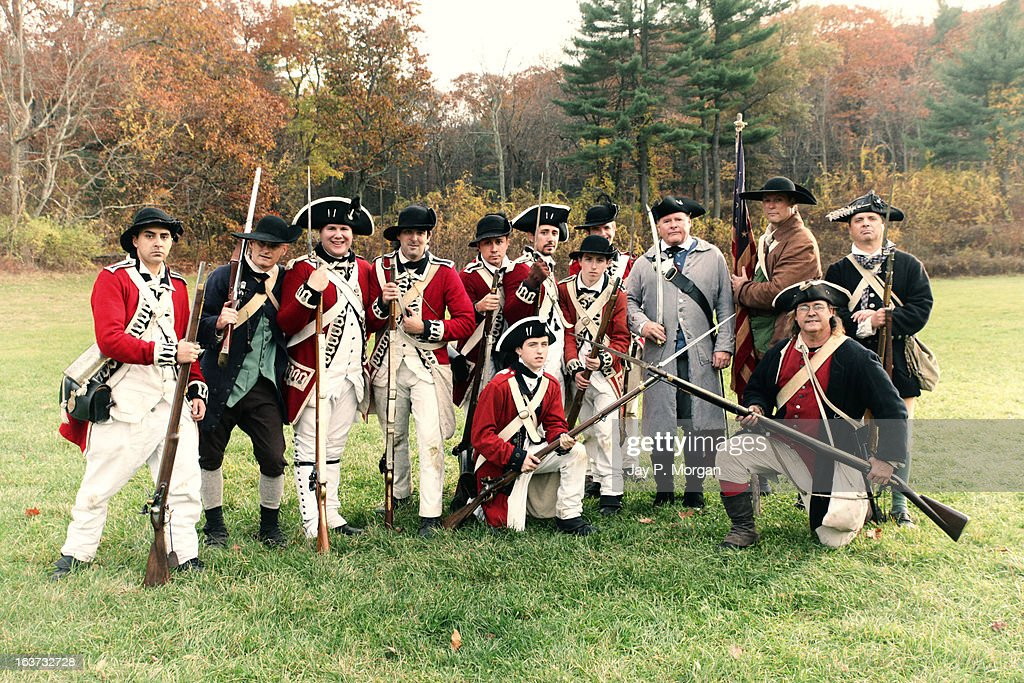British and American colonial soldiers : Foto de stock