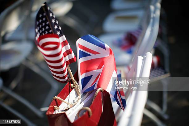 British and American flag rest in a bag before a ceremony to unveil a statue of former US President Ronald Reagan in the grounds of the American...