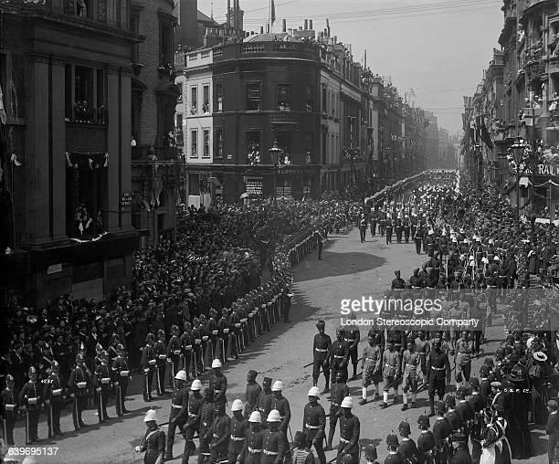 British and colonial troops in Queen Victoria's Diamond Jubilee procession at the junction of King William Street and Cannon Street London on their...