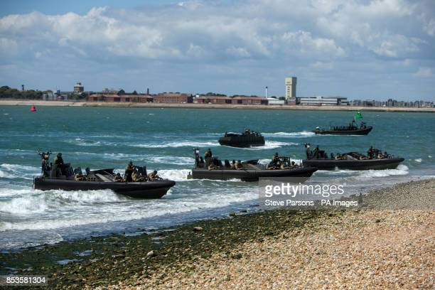 British and Dutch Marines invade the beach near Southsea Common in Hampshire to mark the 70th Anniversary of the DDay landings