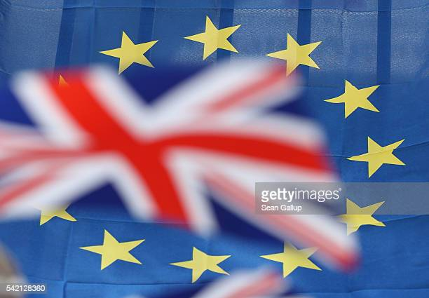 British and European Union flags hang in the city center the day before the EU Referendum on June 22 2016 in Gibraltar Citizens of the United Kingdom...