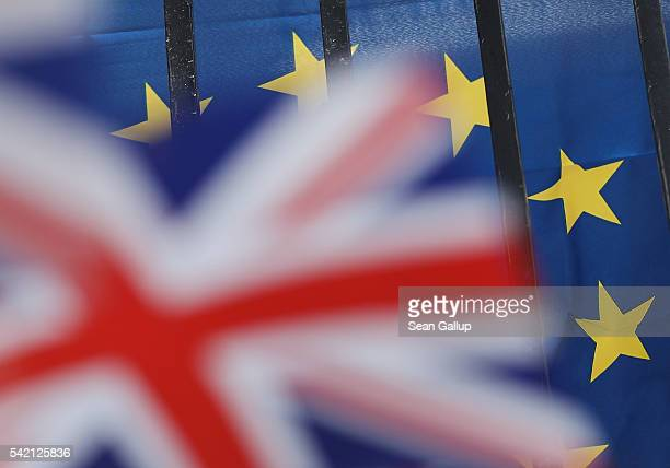 British and European Unionflags hang in the city center the day before the EU Referendum on June 22 2016 in Gibraltar Citizens of the United Kingdom...