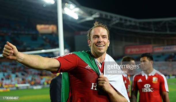 British and Irish Lions captain Alun Wyn Jones celebrates victory after defeating Australia in the deciding rugby union test at ANZ Stadium in Sydney...