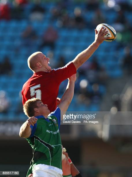 British and Irish Lions captian Paul O'Connell claims the ball from a line out