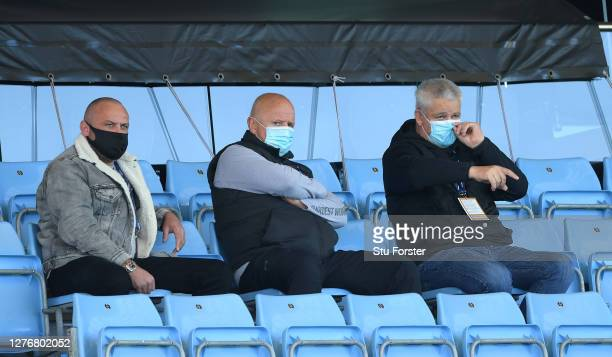 British and Irish Lions coach Warren Gatland watches from the stand whilst wearing PPE during the Heineken Champions Cup Semi Final match between...