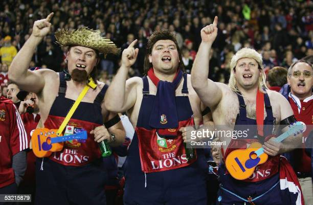 British and Irish Lions fans are pictured in fancy dress before the third test match between the New Zealand All Blacks and the British and Irish...