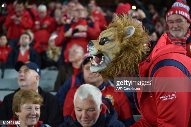 British and Irish Lions fans attend the third rugby union Test match between the British and Irish Lions and New Zealand All Blacks at Eden Park in...