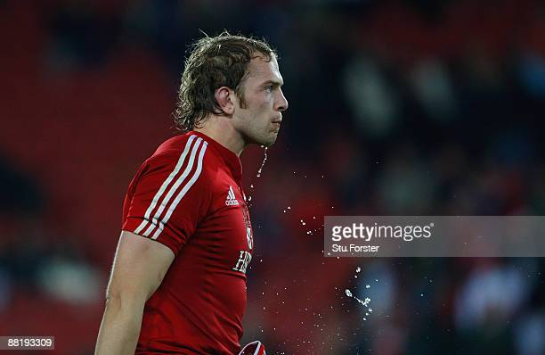 British and Irish Lions forward AlunWyn Jones looks on during the match between the Golden Lions and The British and Irish Lions on their 2009 tour...