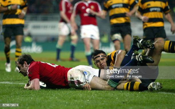 British and Irish Lions' Geordan Murphy goes over to score his first try during their 3614 victory over Taranaki