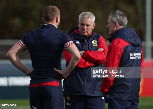 British and Irish Lions head coach Warren Gatland chats with Finn Russell and Rob Howley during the Captains Run at Beetham Park Hamilton