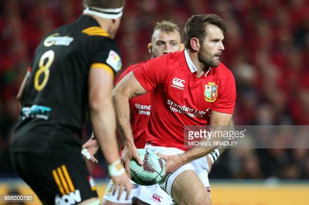 British and Irish Lions' Jared Payne runs with the ball during the rugby union match between the British and Irish Lions and the Waikato Chiefs at...