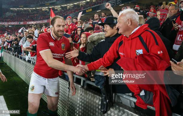British and Irish Lions lock Alun Wyn Jones shakes hands with supporters after the third rugby union Test match between the British and Irish Lions...