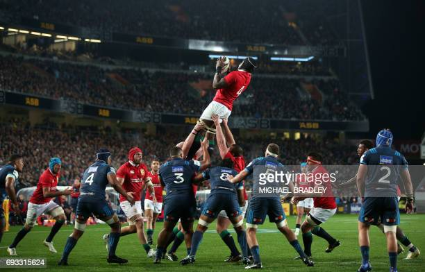 British and Irish Lions' Maro Itoje secures the line out ball during the rugby union match between The British and Irish Lions and Auckland Blues at...