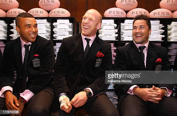 British and Irish Lions players Simon Zebo Paul O'Connell and Brad Barritt speak to the crowd during the David Jones Thomas Pink Event on July 4 2013...