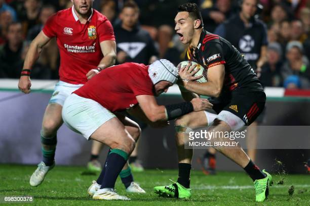 British and Irish Lions' Rory Best tackles Waikato Chiefs' Shaun Stevenson during the rugby union match between the British and Irish Lions and the...