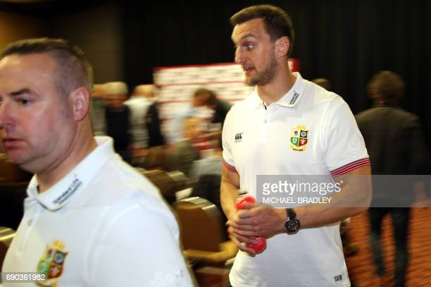 British and Irish Lions rugby captain Sam Warburton arrives for a press conference after the teams arrival earlier in the day in Auckland on May 31...