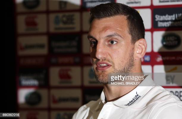 British and Irish Lions rugby captain Sam Warburton speaks during a press conference after the teams arrival earlier in the day in Auckland on May 31...