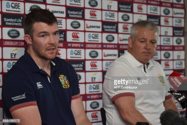 British and Irish Lions rugby coach Warren Gatland and captain Peter O'Mahony speak to the media at a press conference in Auckland on June 22 2017...