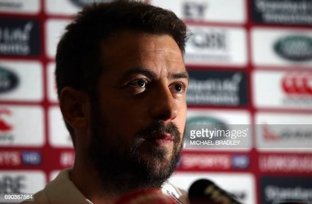British and Irish Lions rugby player Greig Laidlaw speaks during a press conference after the teams arrival earlier in the day in Auckland on May 31...