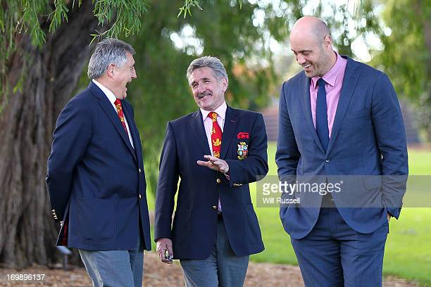 British and Irish Lions Tour manager Andy Irvine laughs with British and Irish Lions Tour chairman Gerald Davies and former Wallaby captain Nathan...