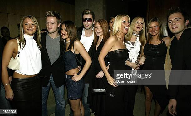 British and Irish pop stars Kimberley Walsh, Nicky Byrne, Cheryl Tweedy, Mark Feehily, Nicola Roberts, Sarah Harding, Nadine Coyle and Shane Filan of...
