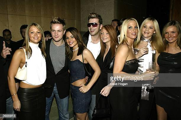 British and Irish pop stars Kimberley Walsh Nicky Byrne Cheryl Tweedy Mark Feehily Nicola Roberts Sarah Harding and Nadine Coyle of the pop groups...