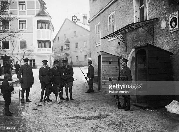 British and Italian sentries on duty at Allied HQ in Austria.