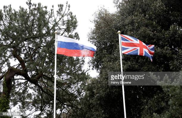 British and Russia flag wave outside the stadium side by side prior to the Premier League match between AFC Bournemouth and West Bromwich Albion at...