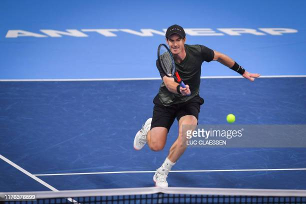 British Andy Murray pictured in action during a tennis match between British Andy Murray and Uruguayan Pablo Cuevas in the second round of the men's...