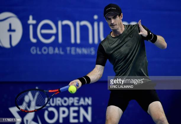British Andy Murray returns a shot during the Men's singles first round match against Kimmer Coppejans of Belgium at the European Open ATP Antwerp...