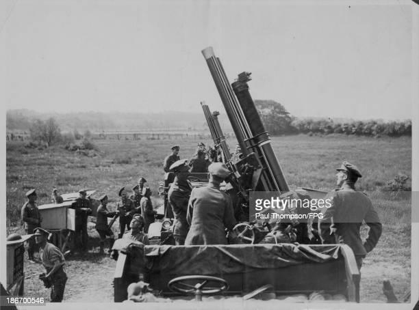 British antiaircraft guns bringing down a German plane during World War One France circa 19141918