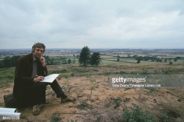 British architect and urban planner Derek Walker overlooking site for Milton Keynes August 1974