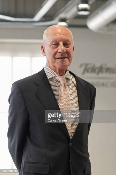 British architect Norman Foster presents 'Norman Foster Futuros Comunes' exhibition at the Telefonica Foundation on October 5 2017 in Madrid Spain