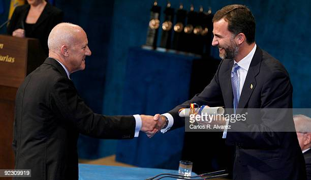 British architect Norman Foster receives the Prince of Asturias Award Laureate for Social Sciences from Prince Felipe of Spain during Prince of...