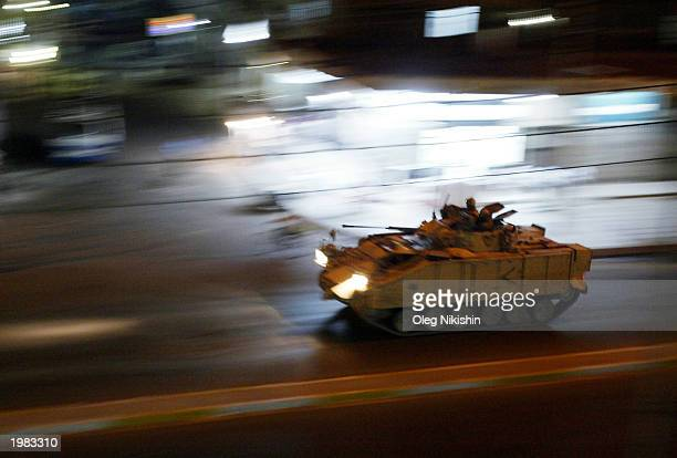 British armored vehicle patrols the streets May 8, 2003 in Basrah, Iraq. British authorities today confirmed the death 18-year-old Pvt. Andrew Joseph...