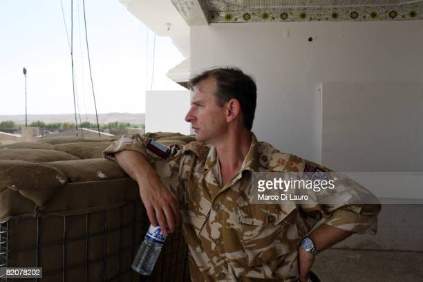 British Army Brigadier Mark CarltonSmith Commander of British Task Force Helmand visits Forward Operation Base Sangin Dc on July 22 2008 in Sangin DC...