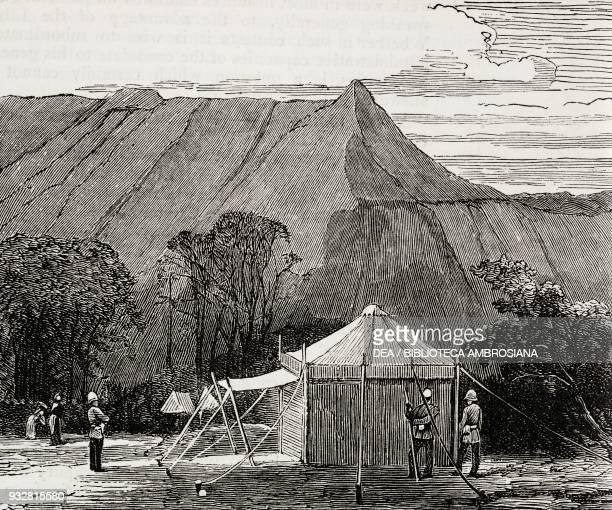 British army camp at Chilloo Koomb Bugti Hills Pakistan illustration from the magazine The Graphic volume XVIII no 467 November 9 1878