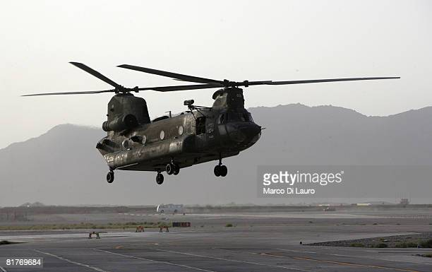 British Army engineers from 4th Regiment Army Air Corps 664 Squadron part of the Joint Helicopter Force fly in an Apache helicopter on June 25 2008...