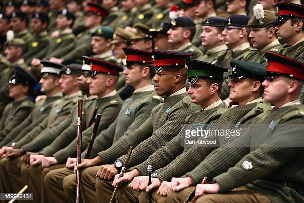 British Army miliatary cadets listen as Abdullah Abdullah Chief Executive Officer of Afghanistan speaks at the Royal Military Academy Sandhurst on...