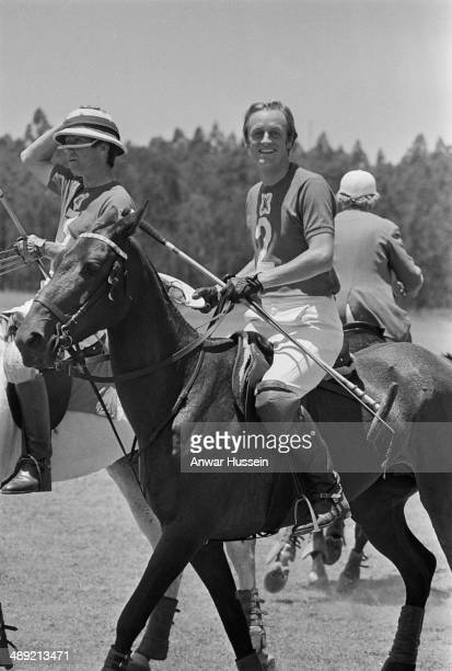 British army officer Andrew Parker Bowles playing polo in Kenya 1971