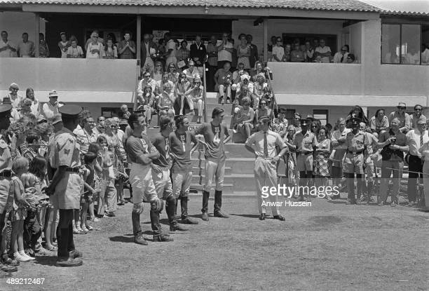 British army officer Andrew Parker Bowles playing polo in Kenya during a visit by Prince Charles 1971