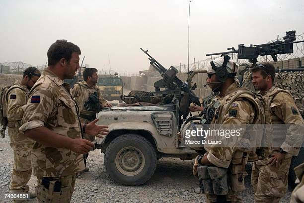 British Army Officer Major Marcus Elliot Commander of the Inkerman Company 1st Battalion Grenadier Guards Regiment briefs his soldiers prior to...
