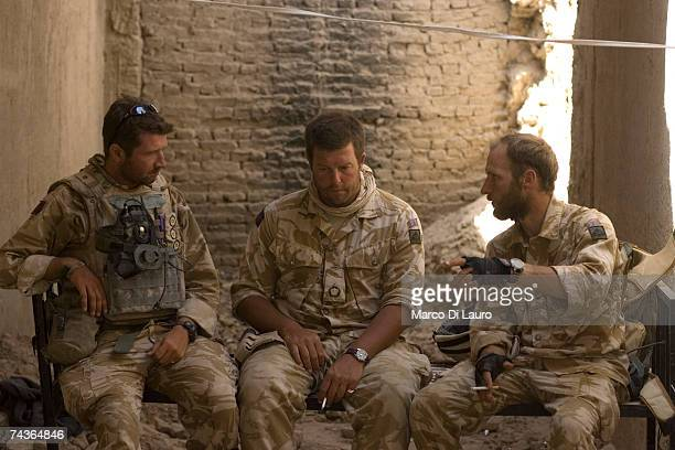 British Army Officers Captain Alex Corbet Burcher from the 1st Battalion Welsh Guards Regiment Major Marcus Elliot Commander of the Inkerman Company...