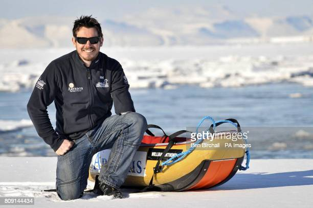 British Army private Jaco Van Gass who is an amputee arrives back at Longyearbyen in the Arctic Norewgian islands of Svalbard after a successful trip...