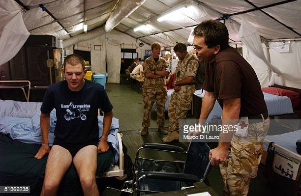 British Army Pvt Lee Hawe from 1st RGBW Regiment recovers after a car accident at the Shaibah British Military Hospital September 28 2004 in Basra...