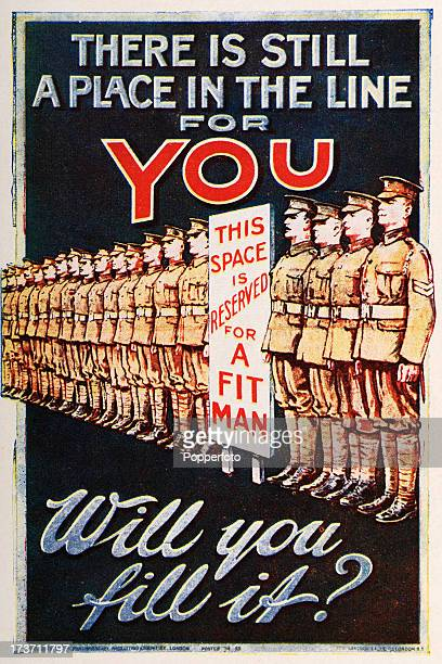 A British Army recruitment poster during World War One circa 1915
