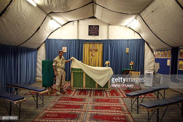 British army Reverend Lt Col Nicholas Cook Chaplain to the Forces from the Royal Army Chaplains Department shows the altar in the Chapel of St Martin...