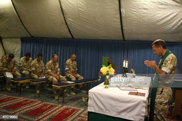 British Army Reverend LtCol Nicholas Cook Chaplain to the Forces from the Royal Army Chaplains Department celebrate the Sunday Mass in the tent...