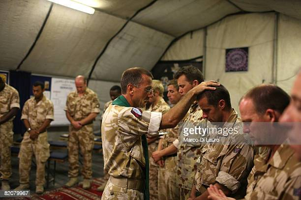 British Army Reverend LtCol Nicholas Cook Chaplain to the Forces from the Royal Army Chaplains Department celebrates the Sunday Mass in the tent...