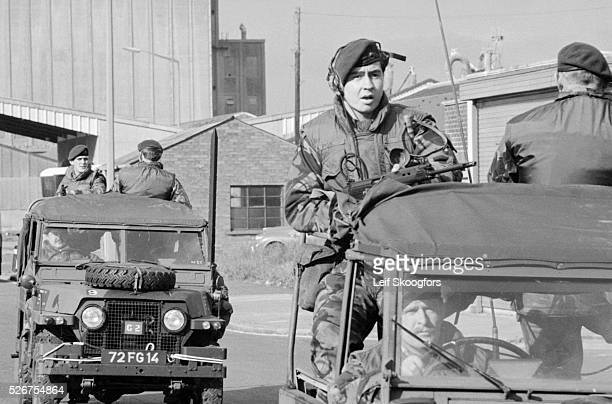 British Army soldier arrive at the scene of an Irish Republican Army bombing in Belfast Northern Ireland